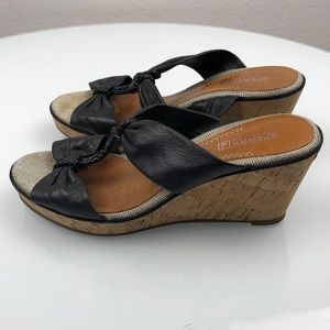 Sperry Top Sider Black Leather Wedge